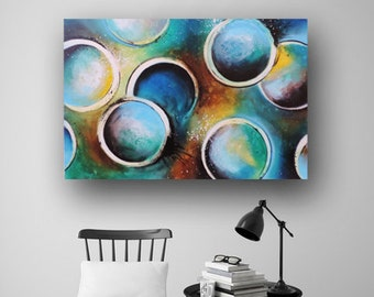 Abstract Painting Circles Painting Painting on Canvas Blue Painting Large Original Painting Contemporary Art 36x24 by Heather Day