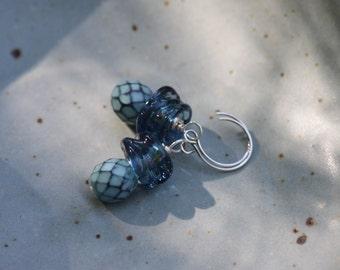 Pigeon Blue Artisan Lampwork Glass Dangle Earrings SS Sterling Silver Ear Wires