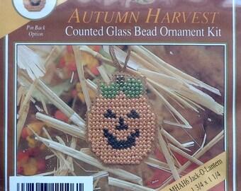 Mill Hill Beads Autumn Harvest PUMPKIN Jack O Lantern Counted Glass Bead Ornament Kit
