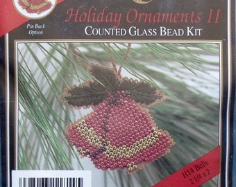 Mill Hill Beads Holiday Ornaments II BELLS Counted Glass Bead Christmas Ornament Kit