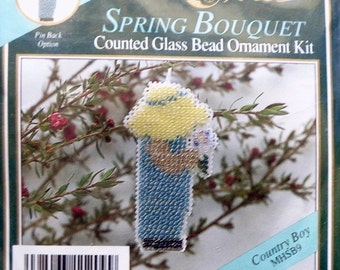 Mill Hill Beads Counted Glass Bead Ornament Kit COUNTRY BOY Spring Bouquet