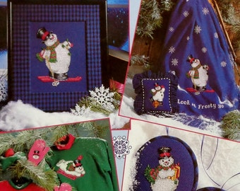 Cross Stitch Pattern Chart Booklet FROSTY THE SNOWMAN (Multiple Designs) By Leisure Arts