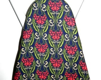 Ironing Board Cover - Floral fabric in navy blue, red and green - Laundry and Housewares