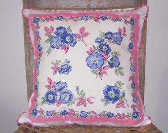 Vintage Handkerchief Pillow Cover  - Ring Around the Blue Posies