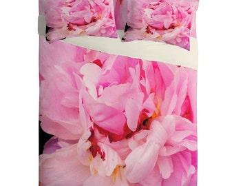 Sheet Set ~ Pink Peony, botanical lightweight sheets, housewarming gift, dorm bedding, unique mum birthday gift, Christmas gift idea bedroom