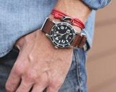 Rope bracelet - hook wrap around bracelet - Sleek red rope bracelet - naval inspired adjustable bracelet for men - men's jewelry