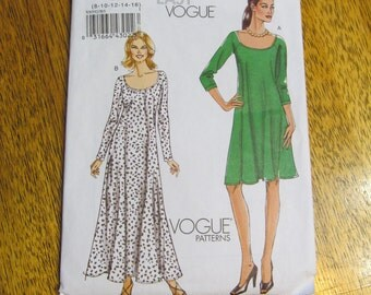 DESIGNER Fit and Flare Scoop Necked Gown - Very EASY - Size 8 - 10 - 12 - 14 - 16 - UNCUT Sewing Pattern Vogue 8592