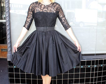 Vintage 50's Black Lace and Satin Party Dress size XS Small