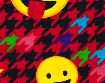 Emoji Fabric - Flannel Fabric - Houndstooth Fabric - Red Fabric - Smiley Face - Retro Fabric - 80's Fabric - Cotton Fabric by the Yard