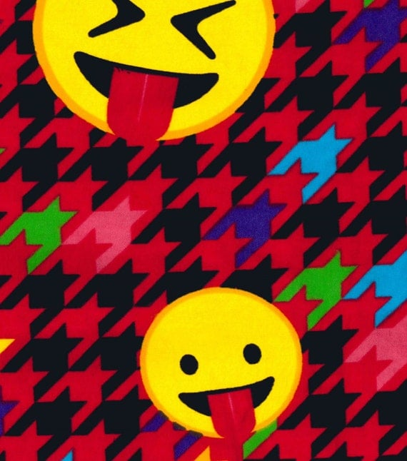 Emoji fabric flannel fabric houndstooth fabric red for Emoji material by the yard