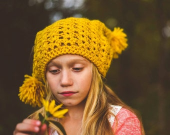 Slouch Hat Crocheted Gold Mustard Yellow Pom Pom  Boho Gypsy Girl Teen Adult Toddler