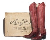 5.5 M | Women's Larry Mahan by Hyer Eel Skin Western Boots Dark Red Tall Cowboy Boots