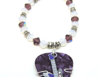 Guitar Pick Bracelet - Purple Pick with Purple Guitar charm