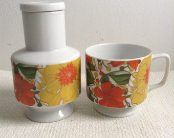 Vintage MOD Carafe & Matching Coffee Cup. Groovy Floral design. Goodwood, Made in Japan.  Danish Modern. Eames era. Mid century. Mod Panton.