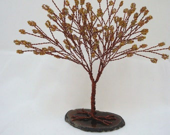 Copper Tree of Life, Fall Colors Tree of Life, Brown and Copper Wire Wrapped Tree Centerpiece,  Copper Tree Sculpture