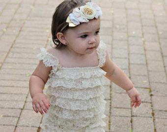 Wool Felt Wildflower Bouquet Headband in Creamy Whites and Gold - Newborn Baby to Adult - Wool Felt Flower Headband