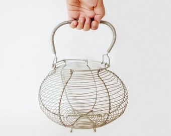 Vintage French Egg Wire Basket Large