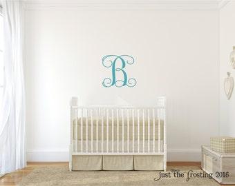 Vine Monogram Wall Decal - Personalized Monogram Decal - Nursery Wall Decal - Wedding Monogram Decal - Vinyl Lettering