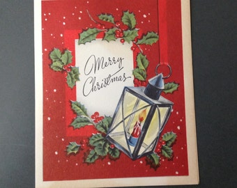 Vintage Christmas Card w/ Envelope 1940s Lantern