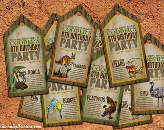 Australian Animals Gift Tags Thank You - INSTANT DOWNLOAD - DIY Editable & Printable Birthday Party Decorations by Sassaby Parties