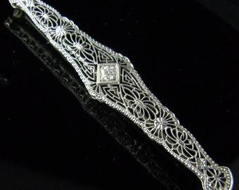 Art Deco Old European Cut Diamond 14k White Gold Filigree Bar Brooch Antique