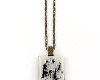 Daschund Sausage Dog Sketch Tile necklace.