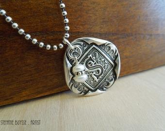 Handmade Venice Initial Keepsake Pendant Beaded Sterling Silver Necklace