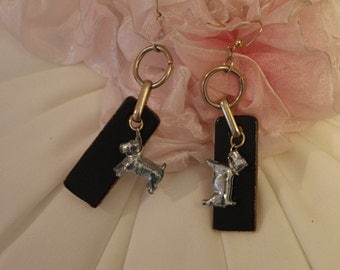 Who Let the Dogs Out? Cute Retro Earrings with Monopoly Dog Game Piece