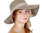 TAUPE Bohemian Wool Felt 70's Cloche Floppy Boho Hat, Floppy Hat, Wide Brim Hat, Womens Hats, Felt Hat, Boho Wide Brim Cloche Floppy Hat