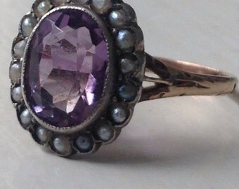 Antique Amethyst and Seed Pearl Ring