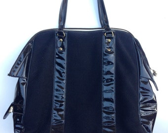 Vintage Town & Country black Insulated Bag by Nappy wool vinyl patent key lock