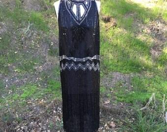 VTG best Sequin Flapper Dress sleeveless cut out India Sz M L