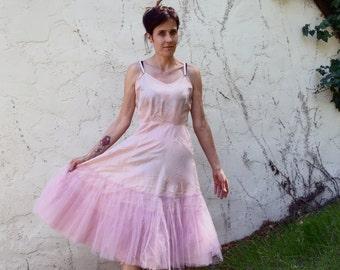 VTG pink Slip Tulle Lace crinoline Sz 2 4 Underslip Lingerie