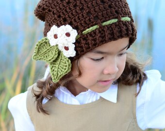 CROCHET PATTERN - Little Blooms Slouchy - a slouchy hat pattern, crochet hat pattern (Toddler, Child, Adult sizes) - Instant PDF Download