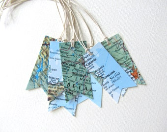 10 Vintage Map Tags, Party Favor Tags, Travel Theme, Pennants, Flags, Weddings, Showers, Prestrung with Twine