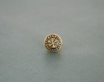 Fire Dept Tie Pin Firefighter Lapel Pin made with a vintage uniform button