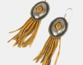 CONCHO Yellow FRINGE Leather Earrings Vtg 70's Antique Silver WESTERN Cowgirl Southwestern Country Boho Bohemian Hippie French Ear Wire