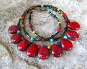 Red jewelry beaded necklace red Picasso beads teardrop pendants one of a kind Statement necklace