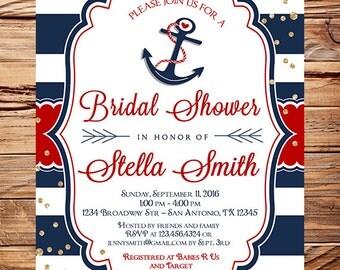 Nautical Bridal Shower Invitation,anchor, gold glitter, red, Invitation, navy stripes, nautical, anchors away, nautical wedding, 5387