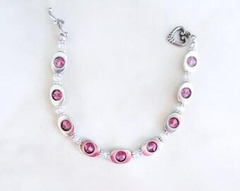 Pink Link Bracelet, Crystal Beaded Bracelet, Link Bracelet, Gifts for Her, Teen Girl Bracelet, Handmade Bracelet