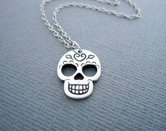 Silver Skull Neckace Sugar Skull Necklace Day of the Dead Calaveras Jewelry Dia de los Muertos Jewelry