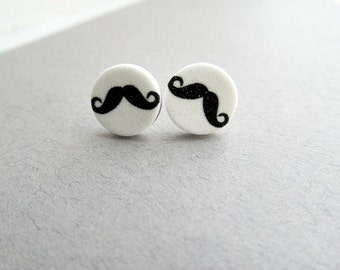 Mustache Stud Earrings black and white mustache, moustache