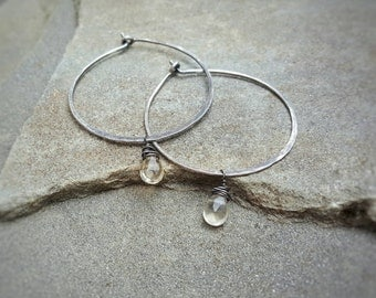 LEMON QUARTZ Sterling Silver Hoops by MOONDROPS /// Minimalist Artisan Jewelry /// Sterling silver Lightweight Gemstone Hoops