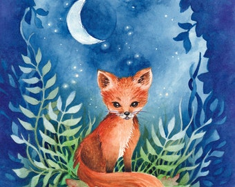 "Nature Animal Baby Fox Art Print ""Moonlight Fox"" Limited Edition Signed Print"