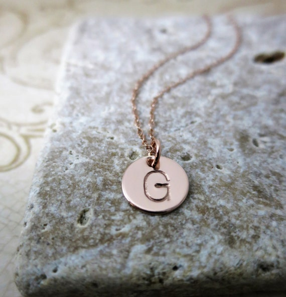 Initial Jewelry | Rose Gold Initial Necklace | Pink Gold Jewelry | Gold Fill Jewelry | Layering Necklace | Monogram Necklace | Custom Mommy