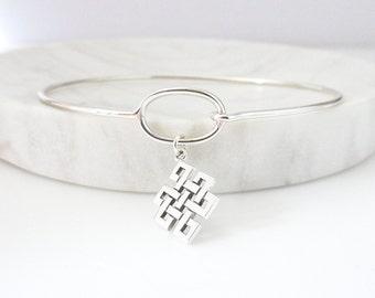 Buddhist Knot Charm Bracelet - Eternity Bracelet - Silver Bracelet - Spiritual Bracelet - Knot Bracelet - Stacking Bracelet