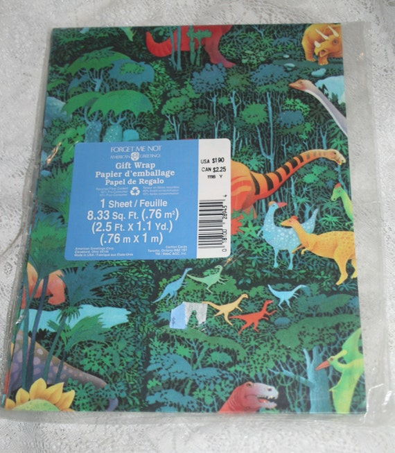 Dinosaur All Occasion Gift Wrap Vintage 90s Wrapping Paper