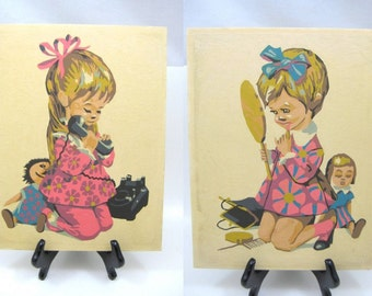 Vintage Paint by Numbers - Set of 2 Mod Little Girls, Putting on Makeup, Making a Telephone Call - 8 x 10, Unframed