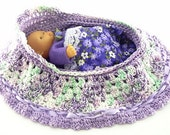 drawstring cradle purse childs toy crocheted church purse itty bitty baby bassinet BG133