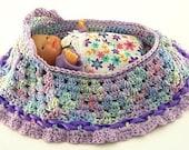 cradle purse crochet little girl baby doll purse itty bitty bassinet drawstring purse BG140